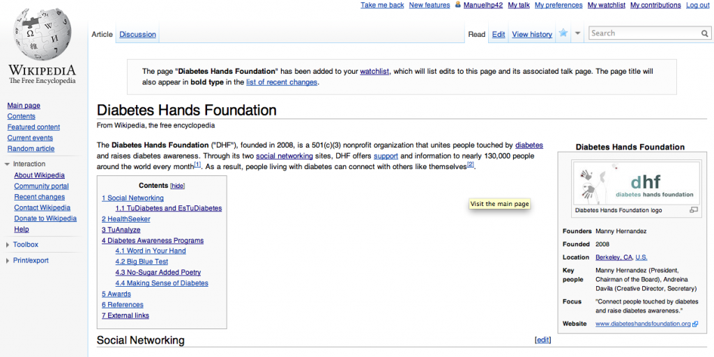 Wikipedia page for Diabetes Hands Foundation
